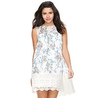 Juniors' Lily Rose Floral Crochet Hem Shift Dress