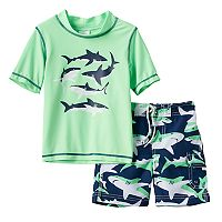 Toddler Boy Carter's Sharks Graphic Rashguard & Swim Trunks Set