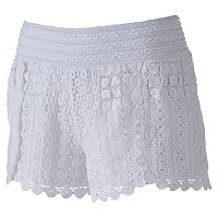 Juniors' Rewind Tulip Hem Crochet Shorts