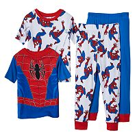 Boys 4-8 Marvel Spider-Man 4-Piece Glow-In-The-Dark Pajama Set