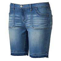 Juniors' Plus Size Mudd® FLX Stretch Release Hem Bermuda Shorts