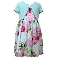 Girls 7-16 & Plus Size Bonnie Jean Floral Chiffon Dress & Shrug Set