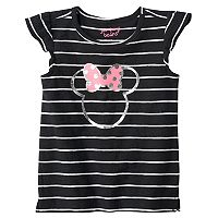 Disney's Minnie Mouse Toddler Girl Foil Graphic Striped Flutter Sleeve Tee by Jumping Beans®