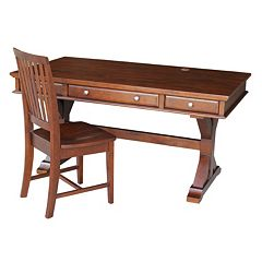 International Concepts Canyon Espresso Desk & Office Chair 2-piece Set