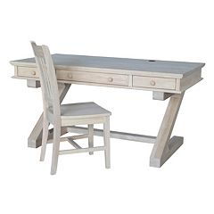 International Concepts Zodiac White Desk & Office Chair 2-piece Set by
