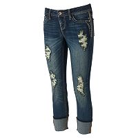 Juniors' Hydraulic Bailey Low Rise Ripped Ankle Skinny Jeans