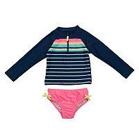 Baby Girl Carter's Long Sleeve Stripe Rashguard & Bottoms Swimsuit Set