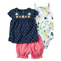 Baby Girl Carter's Floral Bodysuit, Polka-Dot Top & Bubble Shorts Set