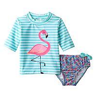 Toddler Girl Carter's Striped Flamingo Rashguard & Ditsy Flower Swimsuit Bottoms Set