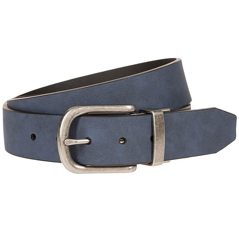 Men's Bill Adler Reversible Flat-Strap Belt, Size: 34, Dark Blue