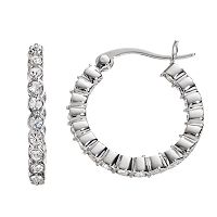 Chrystina Crystal Silver-Plated Inside Out Hoop Earrings
