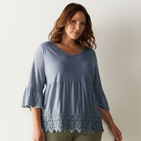 Plus Size SONOMA Goods for Life™ Crochet Peplum Top