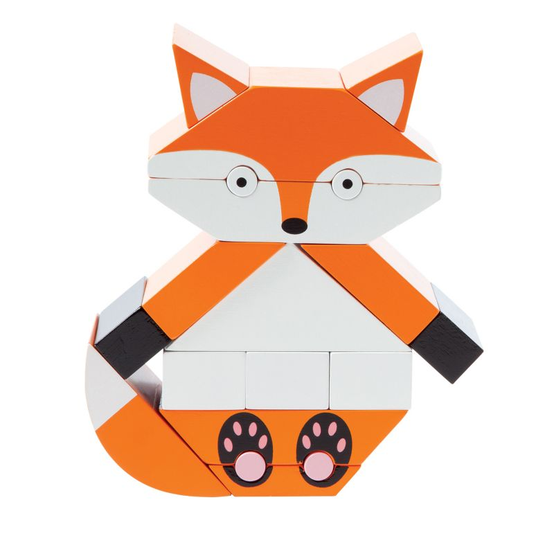Red The Fox Magnetic Wooden Stacking Block Puzzle by Manhattan Toy, Multicolor thumbnail