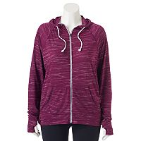 Juniors' Plus Size SO® Space-Dyed Zip Front Hoodie