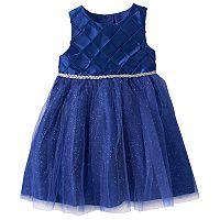 Baby Girl Marmellata Classics Pintuck Glittery Taffeta Dress