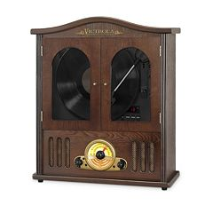 Victrola Wood Wall Mount Bluetooth Record Player with CD Player by