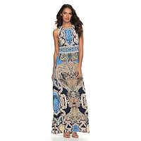 Petite Suite 7 Pleated Scroll Maxi Dress