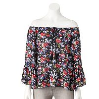 Juniors' My Michelle Marilyn Off The Shoulder Peasant Top