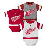 Baby Reebok Detroit Red Wings 3-Piece Jersey Bodysuit Set