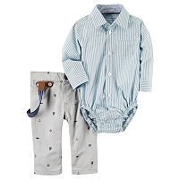 Baby Boy Carter's Striped Button-Down Bodysuit & Sailboat Suspender Pants Set