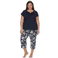 Plus Size Croft & Barrow® Pajamas: Fun in the Sun Tee & Capris PJ Set