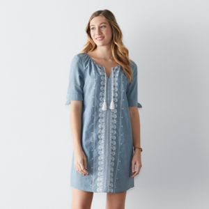Women's SONOMA Goods for Life™ Embroidered Chambray Shift Dress