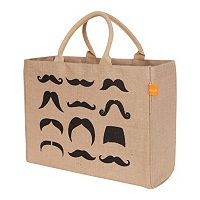 KAF HOME Mustaches Jute Tote Bag