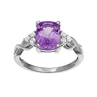 10k White Gold Amethyst & White Topaz Ring