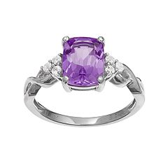 10k White Gold Amethyst & White Topaz Ring by