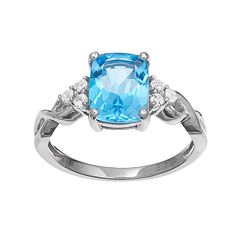 10k White Gold Blue & White Topaz Ring by