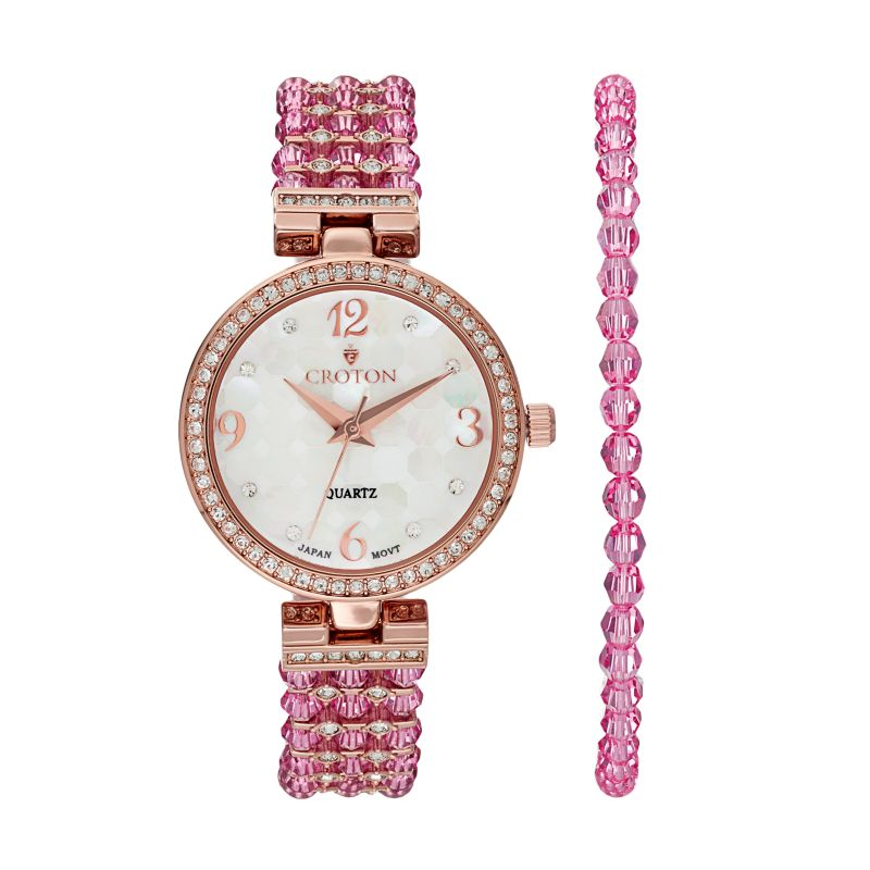Croton Women's Austrian Crystal Watch & Beaded Bracelet Set, Pink thumbnail