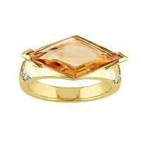 V19.69 Italia 18k Gold Over Silver Citrine Prism Ring