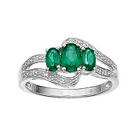 Sterling Silver Lab-Created Emerald & Lab-Created White Sapphire 3-Stone Bypass Ring