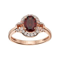 14k Rose Gold Over Silver Garnet & White Topaz Halo Ring by