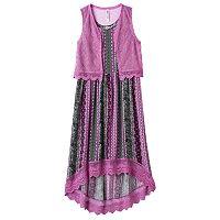 Girls Plus Size Knitworks Crochet Maxi Dress & Vest