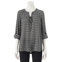 Juniors' My Michelle Lace Up Roll Tab Top