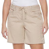 Juniors' Plus Size Unionbay Gwyneth Roll Tab Midi Shorts