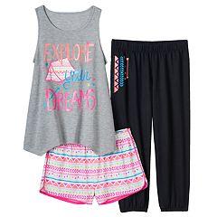 Girls 4-16 SO Graphic Tank, Shorts & Crop Pants Pajama Set