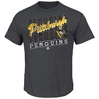 Men's Majestic Pittsburgh Penguins 2 on 1 Vintage Logo Tee