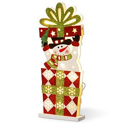 Click here to buy National Tree Company Pre-Lit Snowman Christmas Present Table Decor .