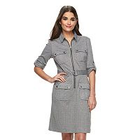 Women's Sharagano Houndstooth Roll-Tab Shirtdress