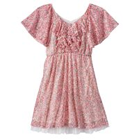 Disney D-Signed Beauty and the Beast Girls 7-16 Floral Flutter Sleeve Dress