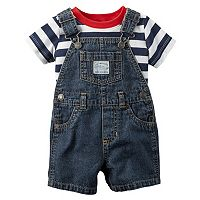 Baby Boy Carter's Striped Tee & Denim Shortalls Set