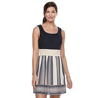 Juniors' Trixxi Lace Bodice Striped Skater Dress