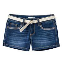 Girls 7-16 Mudd® Belted Dark Wash Jean Shortie Shorts