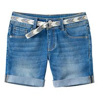 Girls 7-16 Mudd® Belted Medium Wash Midi Jean Shorts
