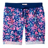Girls 7-16 SO® Ribbed Waist Sateen Bermuda Shorts