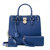 Deluxity Nikki Lock Satchel with Wallet