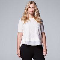Plus Size Simply Vera Vera Wang Textured Mock-Layer Sweater