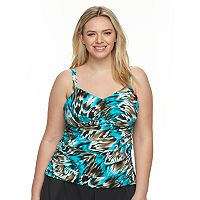Plus Size Trimshaper Tummy Slimmer Ruched Tankini Top